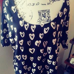 H&M. Heart t shirt. Size 2xl
